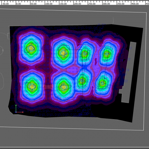 Lighting simulation displaying false colors